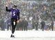 Dec 8, 2013; Baltimore, MD, USA; Baltimore Ravens quarterback Joe Flacco (5) reacts after throwing a touchdown in the game against the Minnesota Vikings at M&T Bank Stadium. Mandatory Credit: Evan Habeeb-USA TODAY Sports
