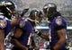 Dec 8, 2013; Baltimore, MD, USA; Baltimore Ravens wide receiver Jacoby Jones (12) is congratulated by wide receiver Marlon Brown (14) after scoring a touchdown in the fourth quarter against the Minnesota Vikings at M&T Bank Stadium. Mandatory Credit: Evan Habeeb-USA TODAY Sports