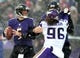 Dec 8, 2013; Baltimore, MD, USA; Baltimore Ravens quarterback Joe Flacco (5) looks to throw the ball while being pressured by Minnesota Vikings defensive end Brian Robison (96) at M&T Bank Stadium. Mandatory Credit: Evan Habeeb-USA TODAY Sports