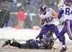 Dec 8, 2013; Baltimore, MD, USA; Minnesota Vikings running back Toby Gerhart (32) runs through the tackle of Baltimore Ravens safety Matt Elam (26) at M&T Bank Stadium. Mandatory Credit: Evan Habeeb-USA TODAY Sports