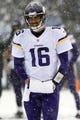 Dec 8, 2013; Baltimore, MD, USA; Minnesota Vikings quarterback Matt Cassel (16) walks to the sideline during the game against the Baltimore Ravens at M&T Bank Stadium. Mandatory Credit: Mitch Stringer-USA TODAY Sports