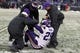Dec 8, 2013; Baltimore, MD, USA; Minnesota Vikings cornerback Xavier Rhodes (29) is helped to his feet by medical staff following an apparent injury sustained against the Baltimore Ravens at M&T Bank Stadium. Mandatory Credit: Mitch Stringer-USA TODAY Sports