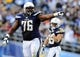 Dec 8, 2013; San Diego, CA, USA; San Diego Chargers offensive tackle D.J. Fluker (76) reacts after a play during the second half against the New York Giants at Qualcomm Stadium. The Chargers won 37-14. Mandatory Credit: Christopher Hanewinckel-USA TODAY Sports