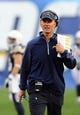 Dec 8, 2013; San Diego, CA, USA; San Diego Chargers head coach Mike McCoy during the second half against the New York Giants at Qualcomm Stadium. The Chargers won 37-14. Mandatory Credit: Christopher Hanewinckel-USA TODAY Sports
