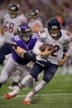 Dec 1, 2013; Minneapolis, MN, USA; Minnesota Vikings defensive end Brian Robison (96) pursues Chicago Bears quarterback Josh McCown (12) in the third quarter at Mall of America Field at H.H.H. Metrodome. Vikings win 23-20 in overtime. Mandatory Credit: Bruce Kluckhohn-USA TODAY Sports