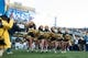 Nov 30, 2013; Morgantown, WV, USA; West Virginia Mountaineers cheerleaders lead the football onto the field prior to the start of the game against Iowa State Cyclones at Milan Puskar Stadium. The Iowa State Cyclones defeated West Virginia Mountaineers 52-44 in the third overtime. Mandatory Credit: Tommy Gilligan-USA TODAY Sports