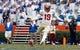 Nov 30, 2013; Gainesville, FL, USA; Florida State Seminoles kicker Roberto Aguayo (19) kicks the ball against the Florida Gators during the second quarter at Ben Hill Griffin Stadium. Mandatory Credit: Kim Klement-USA TODAY Sports