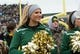 Dec 7, 2013; Waco, TX, USA; A Baylor Bears cheerleader during the game against the Texas Longhorns at Floyd Casey Stadium. The Baylor Bears defeated the Texas Longhorns 30-10 to win the Big 12 championship. Mandatory Credit: Jerome Miron-USA TODAY Sports