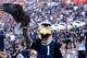 Nov 23, 2013; Gainesville, FL, USA; Georgia Southern Eagles mascot, GUS the Eagle and the Eagle, during the second half against the Florida Gators at Ben Hill Griffin Stadium. Georgia Southern Eagles defeated the Florida Gators 26-20. Mandatory Credit: Kim Klement-USA TODAY Sports