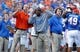 Nov 23, 2013; Gainesville, FL, USA; Florida Gators defensive coordinator D.J. Durkin, defensive backs coach Travaris Robinson and head coach Will Muschamp during the second quarter against the FGeorgia Southern Eagles at Ben Hill Griffin Stadium. Mandatory Credit: Kim Klement-USA TODAY Sports
