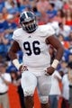 Nov 23, 2013; Gainesville, FL, USA; Georgia Southern Eagles defensive tackle Blake Riley (96) during the second half against the Florida Gators at Ben Hill Griffin Stadium. Georgia Southern Eagles defeated the Florida Gators 26-20. Mandatory Credit: Kim Klement-USA TODAY Sports