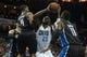 Dec 11, 2013; Charlotte, NC, USA; Charlotte Bobcats center Al Jefferson (25) shoots the ball over Orlando Magic shooting guard Arron Afflalo (4) during the second half at Time Warner Cable Arena. The Magic defeated the Bobcats 92-83. Mandatory Credit: Jeremy Brevard-USA TODAY Sports