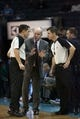 Dec 11, 2013; Charlotte, NC, USA; Charlotte Bobcats head coach Steve Clifford talks with the officials during a timeout during the second half against the Orlando Magic at Time Warner Cable Arena. The Magic defeated the Bobcats 92-83. Mandatory Credit: Jeremy Brevard-USA TODAY Sports