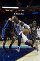 Dec 11, 2013; Charlotte, NC, USA; Charlotte Bobcats center Al Jefferson (25) drives the ball inside against the Orlando Magic during the second half at Time Warner Cable Arena. The Magic defeated the Bobcats 92-83. Mandatory Credit: Jeremy Brevard-USA TODAY Sports