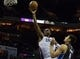 Dec 11, 2013; Charlotte, NC, USA; Charlotte Bobcats center Al Jefferson (25) goes up for a shot during the second half against the Orlando Magic at Time Warner Cable Arena. The Magic defeated the Bobcats 92-83. Mandatory Credit: Jeremy Brevard-USA TODAY Sports