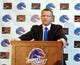 Dec 13, 2013; Boise, ID, USA; Boise State Broncos head new football coach Bryan Harsin addresses the media and boosters at Bronco Hall of Fame. Mandatory Credit: Brian Losness-USA TODAY Sports
