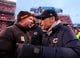 Dec 15, 2013; Cleveland, OH, USA; Cleveland Browns head coach Rob Chudzinski (left) shakes hands with Chicago Bears head coach Marc Trestman following the game at FirstEnergy Stadium. Chicago Bears defeated Cleveland Browns 38-31. Mandatory Credit: Andrew Weber-USA TODAY Sports