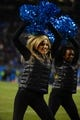 Dec 15, 2013; Charlotte, NC, USA; Carolina Panthers cheerleader performs in the third quarter at Bank of America Stadium. Mandatory Credit: Bob Donnan-USA TODAY Sports