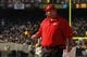 Dec 15, 2013; Oakland, CA, USA; Kansas City Chiefs head coach Andy Reid walks on the field during a timeout against the Oakland Raiders in the second quarter at O.co Coliseum. The Chiefs defeated the Raiders 56-31. Mandatory Credit: Cary Edmondson-USA TODAY Sports