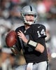 Dec 15, 2013; Oakland, CA, USA; Oakland Raiders quarterback Matt McGloin (14) throws a pass against the Kansas City Chiefs at O.co Coliseum. The Chiefs defeated the Raiders 56-31. Mandatory Credit: Kirby Lee-USA TODAY Sports