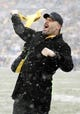 Dec 8, 2013; Pittsburgh, PA, USA; Motion picture actor Joe Manganiello reacts on the sidelines as the Pittsburgh Steelers host the Miami Dolphins at Heinz Field. The Dolphins won 34-28. Mandatory Credit: Charles LeClaire-USA TODAY Sports