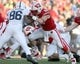 Nov 30, 2013; Madison, WI, USA; Wisconsin Badgers tight end Jacob Pederson (48) blocks Penn State Nittany Lions defensive end C.J. Olaniyan at Camp Randall Stadium. Penn State defeated Wisconsin 31-24. Mandatory Credit: Mary Langenfeld-USA TODAY Sports
