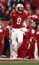 Nov 30, 2013; Madison, WI, USA; Wisconsin Badgers cornerback Sojourn Shelton (8) during the game with Penn State at Camp Randall Stadium. Penn State defeated Wisconsin 31-24. Mandatory Credit: Mary Langenfeld-USA TODAY Sports