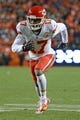 November 17, 2013; Denver, CO, USA; Kansas City Chiefs wide receiver Donnie Avery (17) runs a route during the second quarter against the Denver Broncos at Sports Authority Field at Mile High. The Broncos defeated the Chiefs 27-17. Mandatory Credit: Kyle Terada-USA TODAY Sports