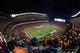 November 17, 2013; Denver, CO, USA; General view of Sports Authority Field at Mile High during the first quarter between the Denver Broncos and the Kansas City Chiefs. The Broncos defeated the Chiefs 27-17. Mandatory Credit: Kyle Terada-USA TODAY Sports