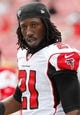 Nov 17, 2013; Tampa, FL, USA; Atlanta Falcons cornerback Desmond Trufant (21) against the Tampa Bay Buccaneers works out prior to the game at Raymond James Stadium. Mandatory Credit: Kim Klement-USA TODAY Sports