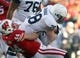 Nov 30, 2013; Madison, WI, USA;  Wisconsin Badgers linebacker Chris Borland (44) takes down Penn State Nittany Lions running back Zach Zwinak (28) at Camp Randall Stadium. Penn State defeated Wisconsin 31-24. Mandatory Credit: Mary Langenfeld-USA TODAY Sports