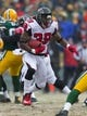 Dec 8, 2013; Green Bay, WI, USA; Atlanta Falcons running back Steven Jackson (39) during the game against the Green Bay Packers at Lambeau Field.  Green Bay won 22-21.  Mandatory Credit: Jeff Hanisch-USA TODAY Sports