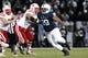 Nov 23, 2013; University Park, PA, USA; Penn State Nittany Lions defensive tackle Austin Johnson (99) during the third quarter against the Nebraska Cornhuskers at Beaver Stadium. Nebraska defeated Penn State 23-20 in overtime. Mandatory Credit: Matthew O'Haren-USA TODAY Sports