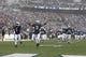 Nov 23, 2013; University Park, PA, USA; Penn State Nittany Lions cornerback Jordan Lucas (9) and safety Malcolm Willis (1) run onto the field prior to the game against the Nebraska Cornhuskers at Beaver Stadium. Nebraska defeated Penn State 23-20 in overtime. Mandatory Credit: Matthew O'Haren-USA TODAY Sports