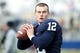 Nov 23, 2013; University Park, PA, USA; Penn State Nittany Lions quarterback Jack Seymour (12) looks to throw a pass prior to the game against the Nebraska Cornhuskers at Beaver Stadium. Nebraska defeated Penn State 23-20 in overtime. Mandatory Credit: Matthew O'Haren-USA TODAY Sports