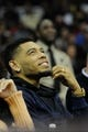 Dec 10, 2013; Cleveland, OH, USA; Cleveland Browns defensive back Joe Haden watches during a game between the Cleveland Cavaliers and the New York Knicks at Quicken Loans Arena. Cleveland won 109-94. Mandatory Credit: David Richard-USA TODAY Sports