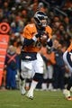 November 17, 2013; Denver, CO, USA; Denver Broncos quarterback Peyton Manning (18) looks for a receiver during the fourth quarter against the Kansas City Chiefs at Sports Authority Field at Mile High. The Broncos defeated the Chiefs 27-17. Mandatory Credit: Kyle Terada-USA TODAY Sports