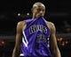 Dec 17, 2013; Charlotte, NC, USA; Sacramento Kings forward Travis Outlaw (25) after the loss to the Charlotte Bobcats at Time Warner Cable Arena. Bobcats win 95-87. Mandatory Credit: Sam Sharpe-USA TODAY Sports
