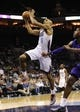 Dec 17, 2013; Charlotte, NC, USA; Charlotte Bobcats guard Gerald Henderson (9) drives to the basket during the second half of the game against the Sacramento Kings at Time Warner Cable Arena. Bobcats win 95-87. Mandatory Credit: Sam Sharpe-USA TODAY Sports