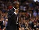 Dec 18, 2013; Toronto, Ontario, CAN; Toronto Raptors head coach Dwane Casey reacts during overtime against the Charlotte Bobcats at the Air Canada Centre. Charlotte defeated Toronto 104-102 in overtime. Mandatory Credit: John E. Sokolowski-USA TODAY Sports