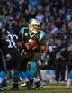 Dec 15, 2013; Charlotte, NC, USA; Carolina Panthers quarterback Cam Newton (1) with the ball in the first quarter at Bank of America Stadium. Mandatory Credit: Bob Donnan-USA TODAY Sports