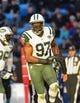 Dec 15, 2013; Charlotte, NC, USA; xxNew York Jets outside linebacker Calvin Pace (97) reacts in the first quarter at Bank of America Stadium. Mandatory Credit: Bob Donnan-USA TODAY Sports