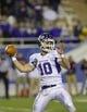 Dec 20, 2013; Salem, VA, USA; Mount Union Purple Raiders quarterback Kevin Burke (10) looks to pass in the first quarter at Salem Stadium. Mandatory Credit: Bob Donnan-USA TODAY Sports