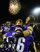 Dec 20, 2013; Salem, VA, USA; UW-Whitewater quarterback Matt Behrendt (16) and offensive linesman Pat Suffield (73) and wide receiver Jake Kumerow (1) react after the game. UW-Whitewater defeated Mount Union Purple Raiders 52-14 at Salem Stadium. Mandatory Credit: Bob Donnan-USA TODAY Sports