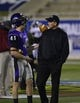 Dec 20, 2013; Salem, VA, USA; (Editor's Note: Caption Correction.) UW-Whitewater head coach Lance Leipold talks to kicker Eric Kindler (41) before the game at Salem Stadium. Mandatory Credit: Bob Donnan-USA TODAY Sports