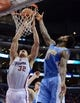 Dec 21, 2013; Los Angeles, CA, USA;  Los Angeles Clippers power forward Blake Griffin (32) and Denver Nuggets small forward Wilson Chandler (21) go for a rebound in the second half of the game at Staples Center. The Clippers won 112-91. Mandatory Credit: Jayne Kamin-Oncea-USA TODAY Sports