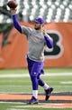 Dec 8, 2013; Cincinnati, OH, USA;  Minnesota Vikings quarterback Christian Ponder (7)  warms up before the game against the Cincinnati Bengals at Paul Brown Stadium. Mandatory Credit: Marc Lebryk-USA TODAY Sports