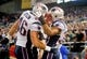 Dec 22, 2013; Baltimore, MD, USA; New England Patriots running back Shane Vereen (34) is congratulated by fullback James Devlin (46) after scoring a touchdown in the first quarter against the Baltimore Ravens at M&T Bank Stadium. Mandatory Credit: Evan Habeeb-USA TODAY Sports