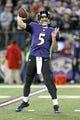 Dec 22, 2013; Baltimore, MD, USA; Baltimore Ravens quarterback Joe Flacco (5) passes against the New England Patriots defense at M&T Bank Stadium. Mandatory Credit: Mitch Stringer-USA TODAY Sports