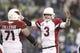 Dec 22, 2013; Seattle, WA, USA; Arizona Cardinals quarterback Carson Palmer (3) celebrates a touchdown pass against the Seattle Seahawks during the fourth quarter at CenturyLink Field. Mandatory Credit: Joe Nicholson-USA TODAY Sports